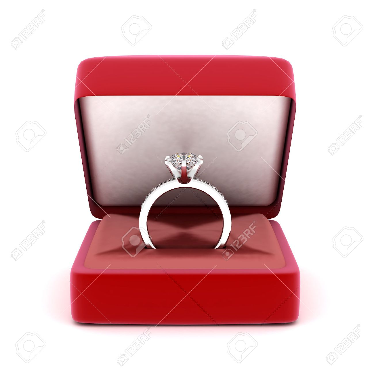 Ring Box: Image Of Wedding Rings In A Gift Box On White Background