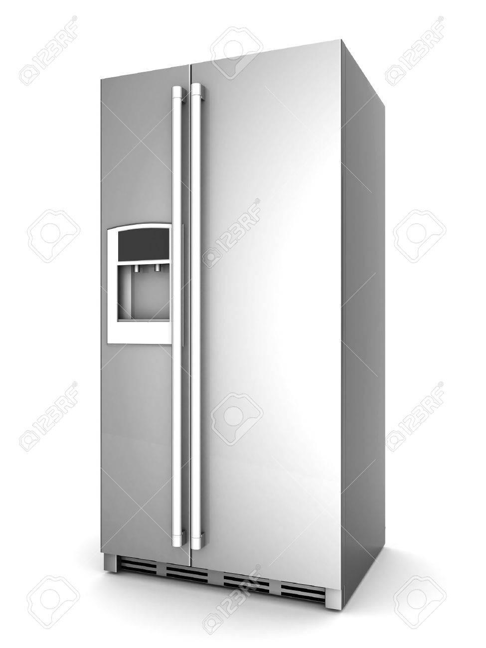 Stellen Sie Sich Einen Schönen Kühlschrank Auf Weißem Hintergrund ...