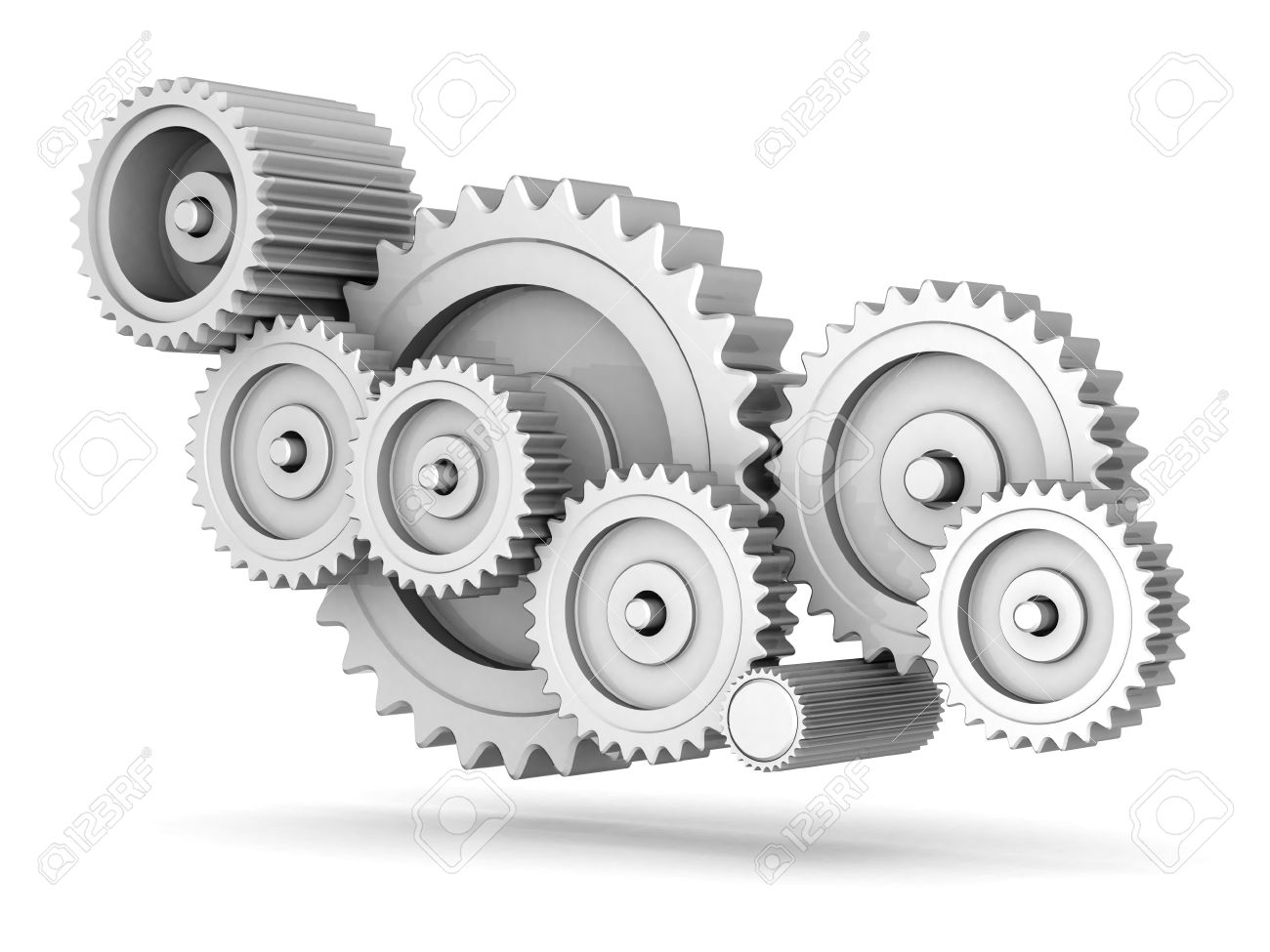 mechanical gears isolated on white background Stock Photo - 15581630
