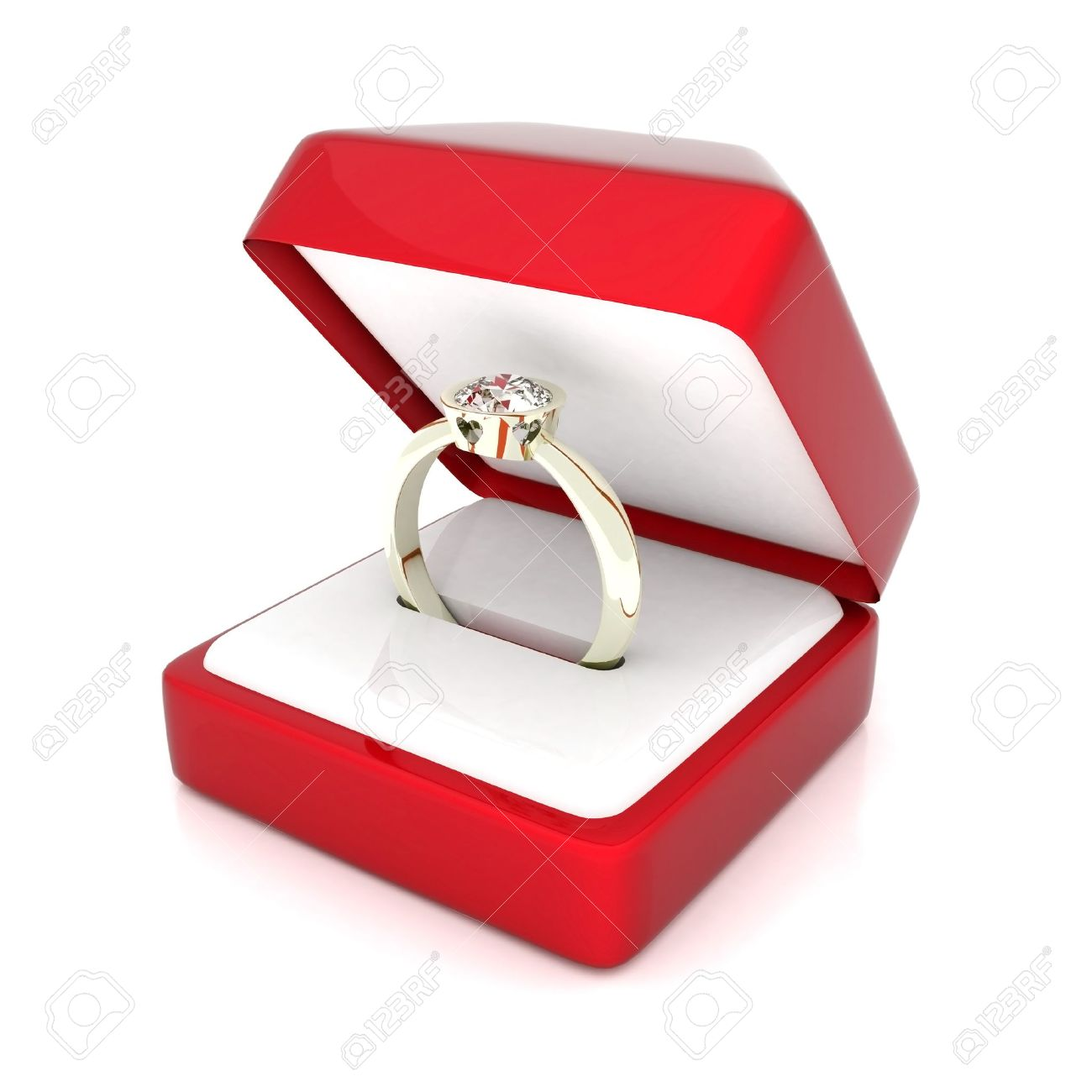 Image Of Wedding Rings In A Gift Box On White Background Stock Photo ...