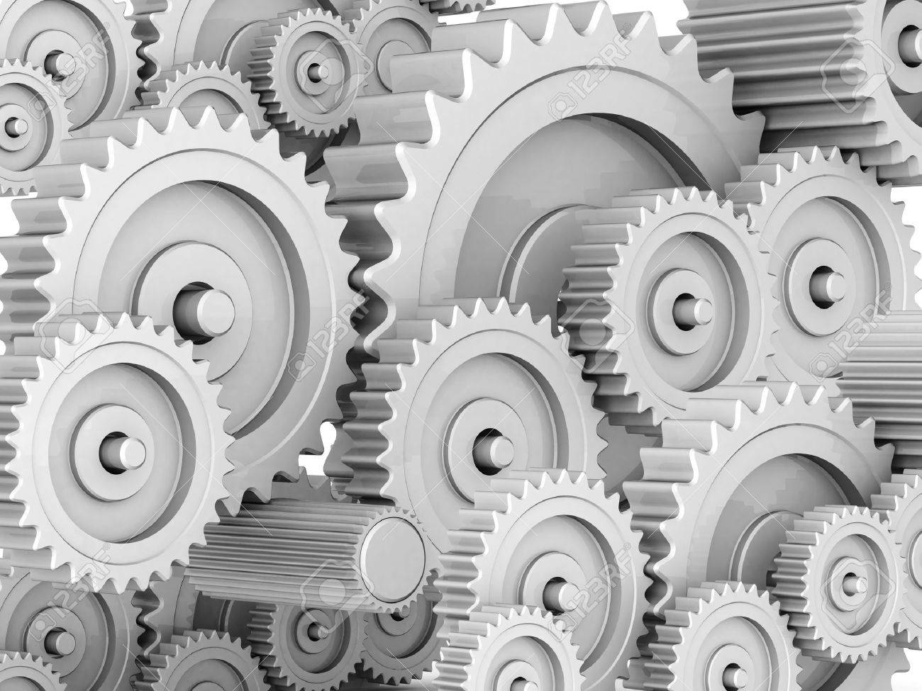 mechanical gears isolated on white background Stock Photo - 15686304