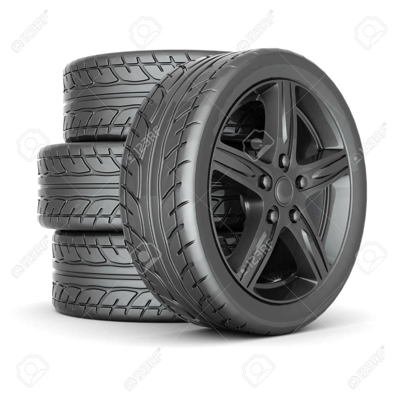 Black sports wheel on a white background Stock Photo - 15686323