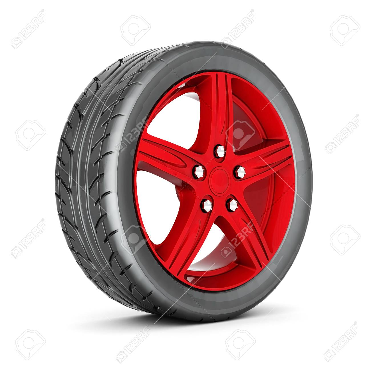 black and red sports wheel on a white background Stock Photo - 21772612