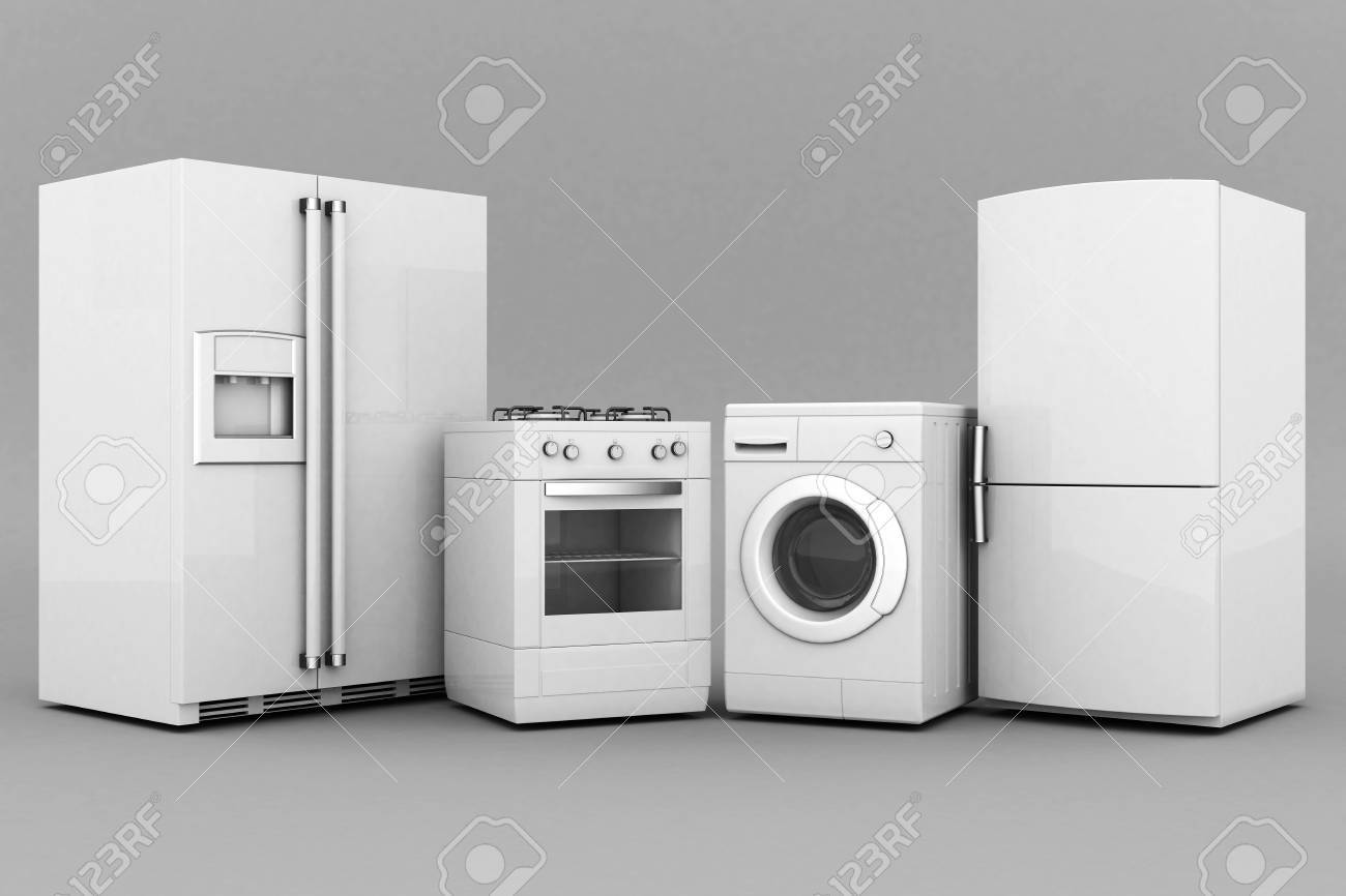 picture of household appliances on a gray background Stock Photo - 21773115