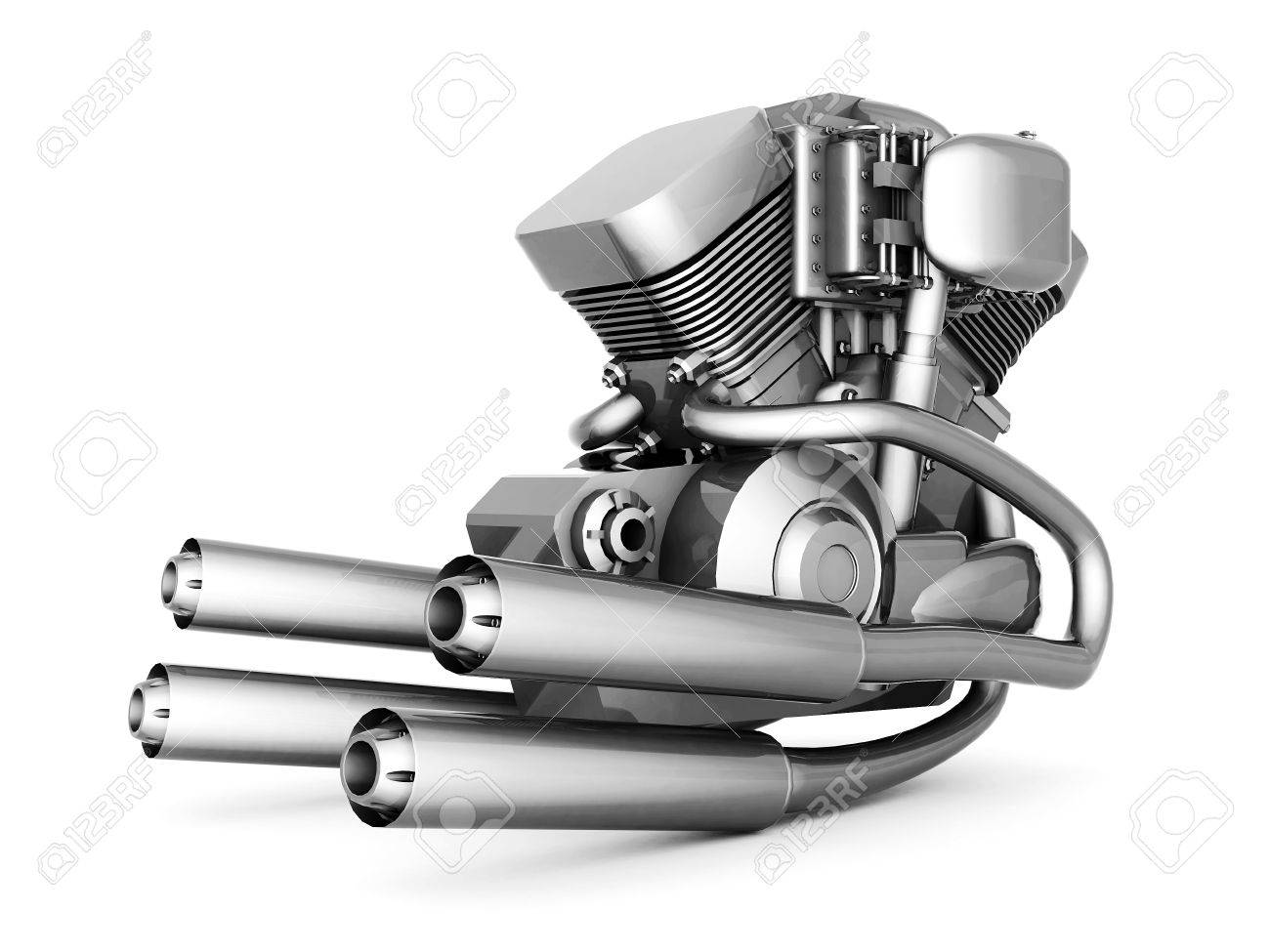 chromed motorcycle engine on a white background Stock Photo - 21926763