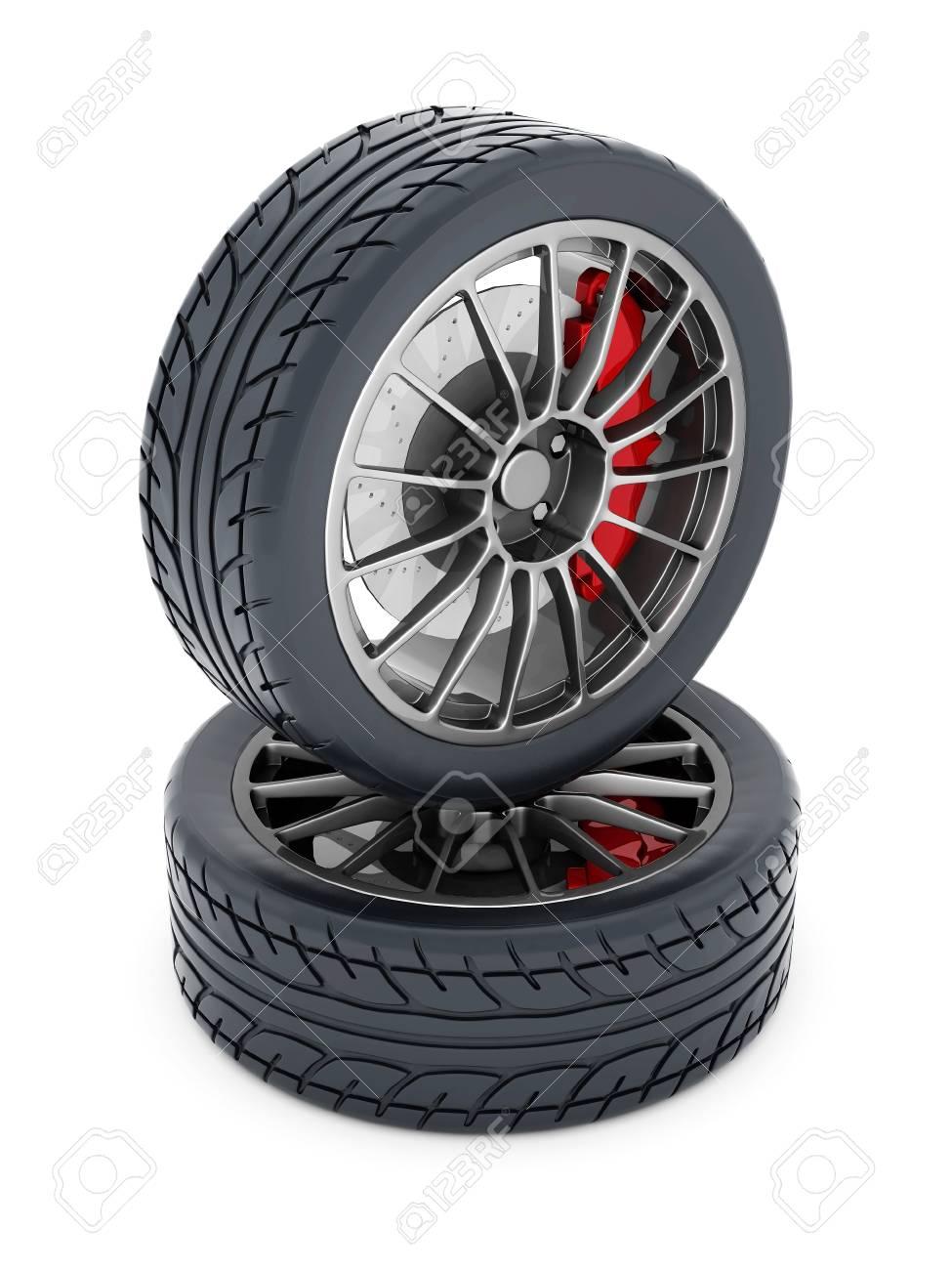Black sports wheel on a white background Stock Photo - 21926765