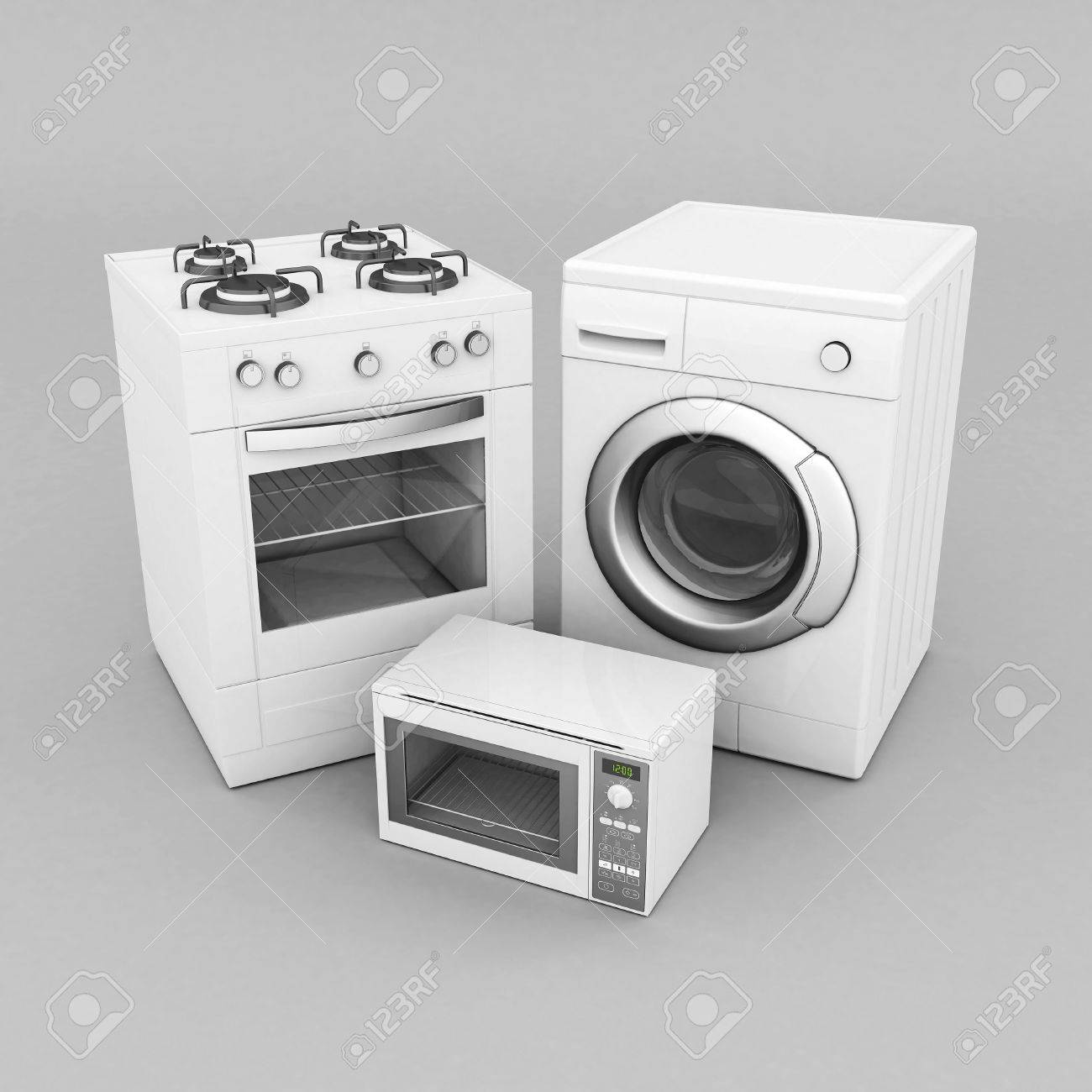 picture of household appliances on a gray background Stock Photo - 21926777