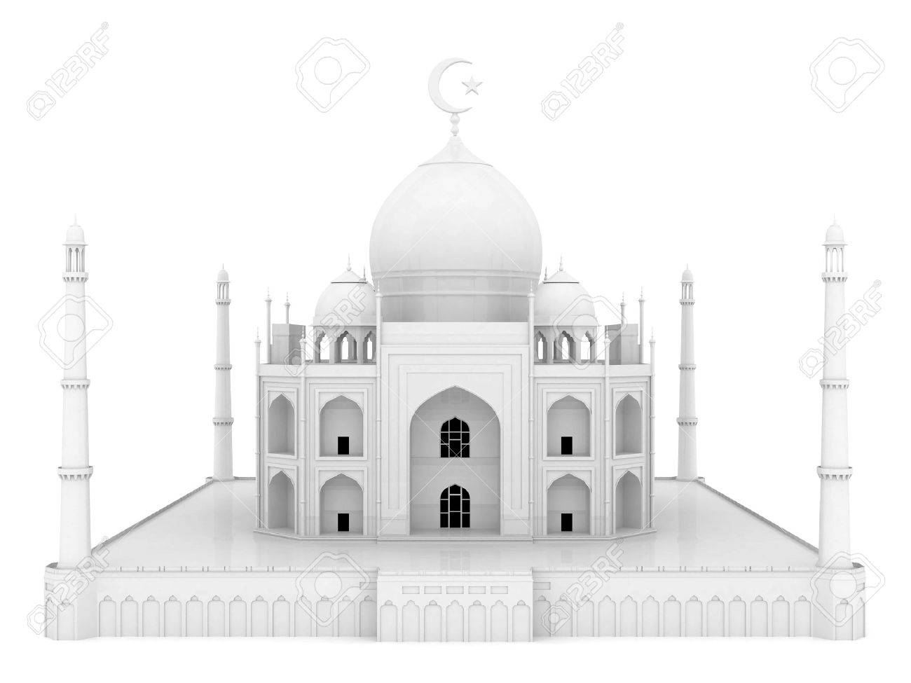 beautiful white mosque on the isolated background Stock Photo - 21926817