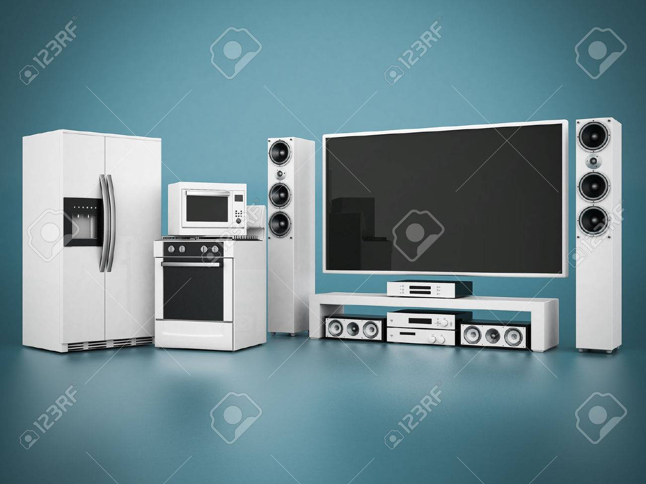 picture of household appliances on a blue background - 33255477