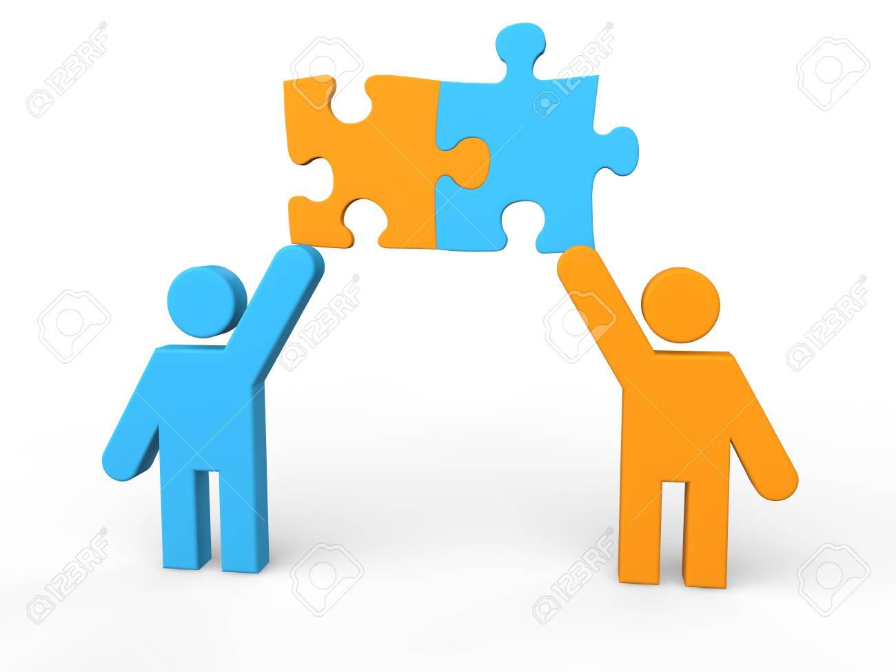 3d men sharing puzzle pieces - 43384661