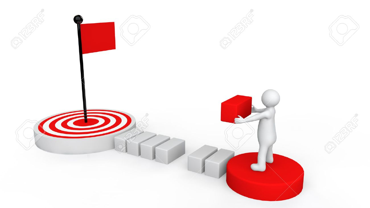 3d man reaching goal plan - 43743954