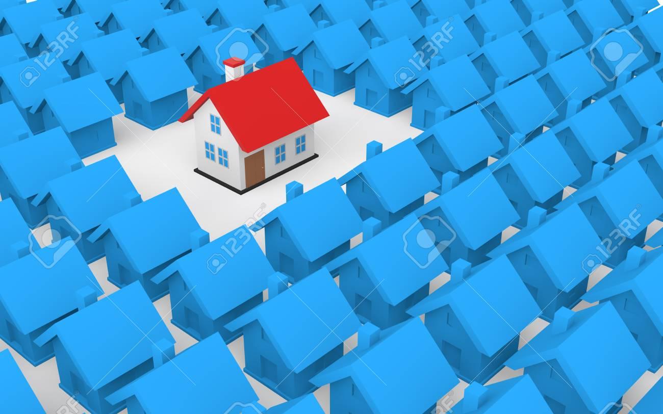 3d unique house among houses - 43696402