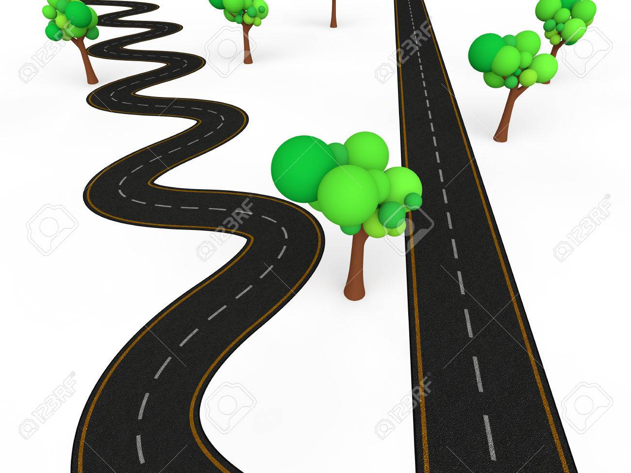 3d zigzag vs straight road - 44195541