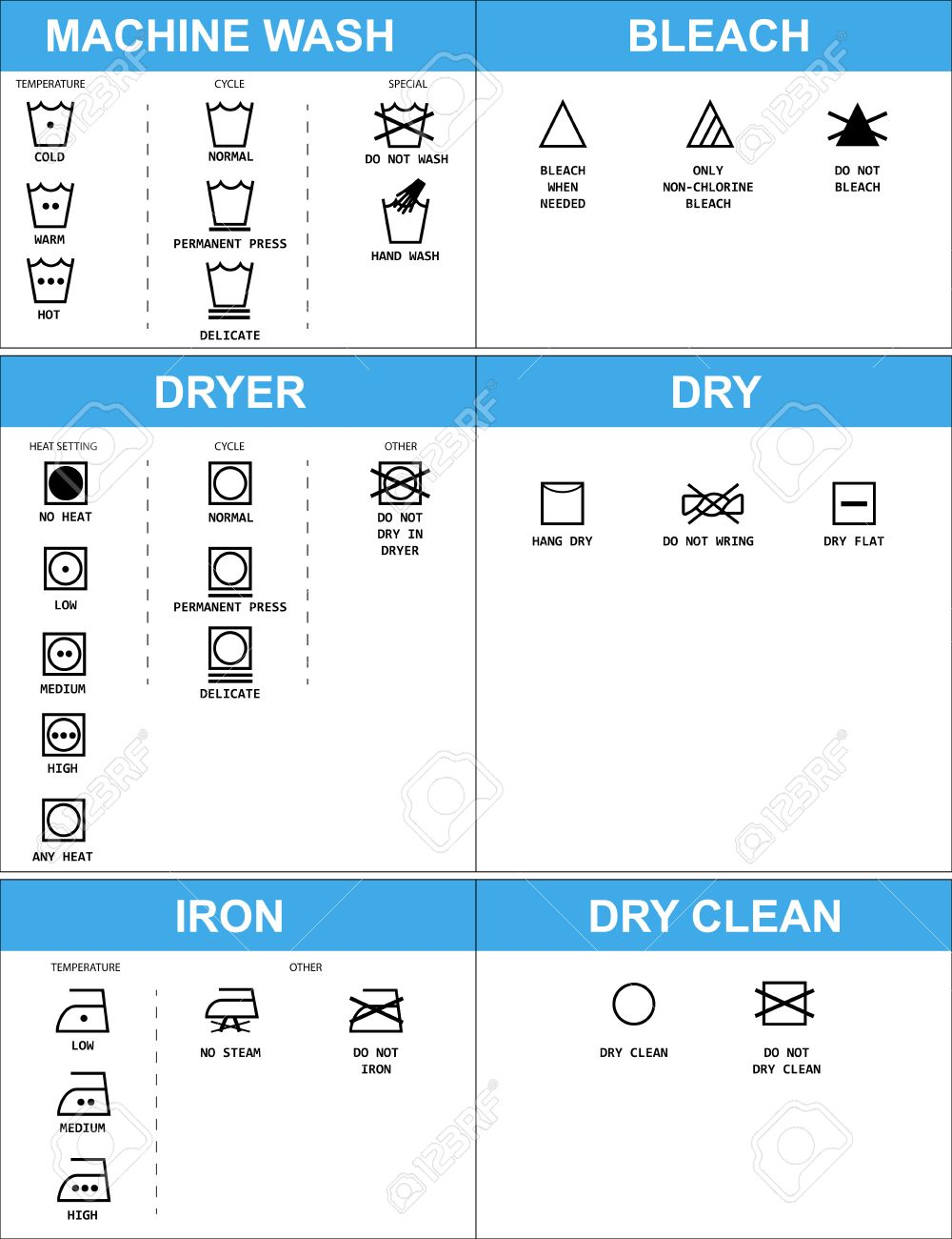 Set Of Clothing Care Symbols Stock Photo Picture And Royalty Free