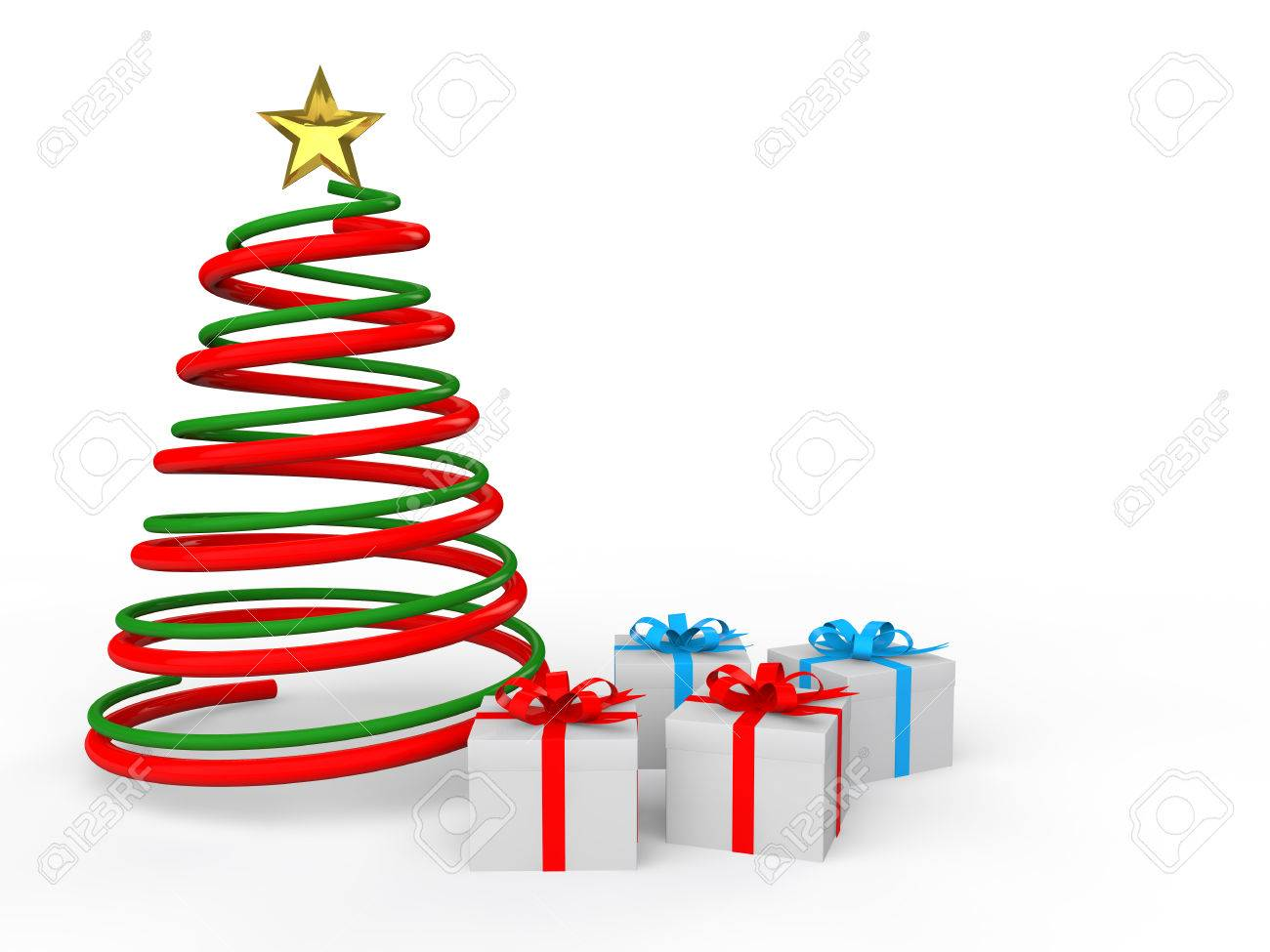3d Christmas spiral tree and gifts - 49098779