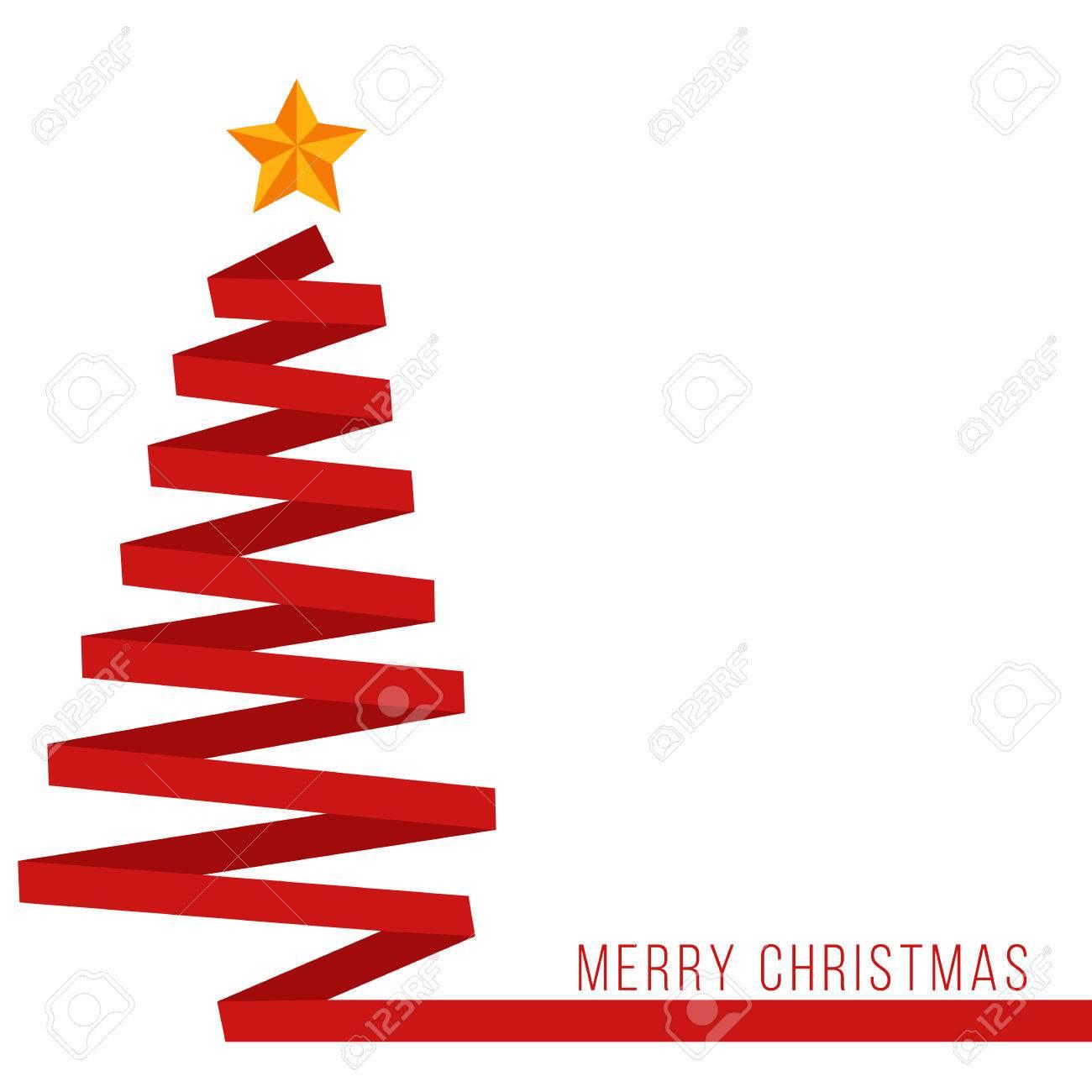 Red ribbon Christmas tree banner - 50035086