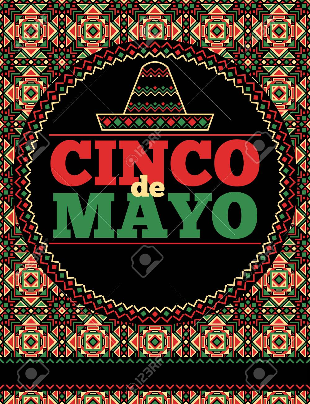 aztec style cinco de mayo flyer template royalty free cliparts