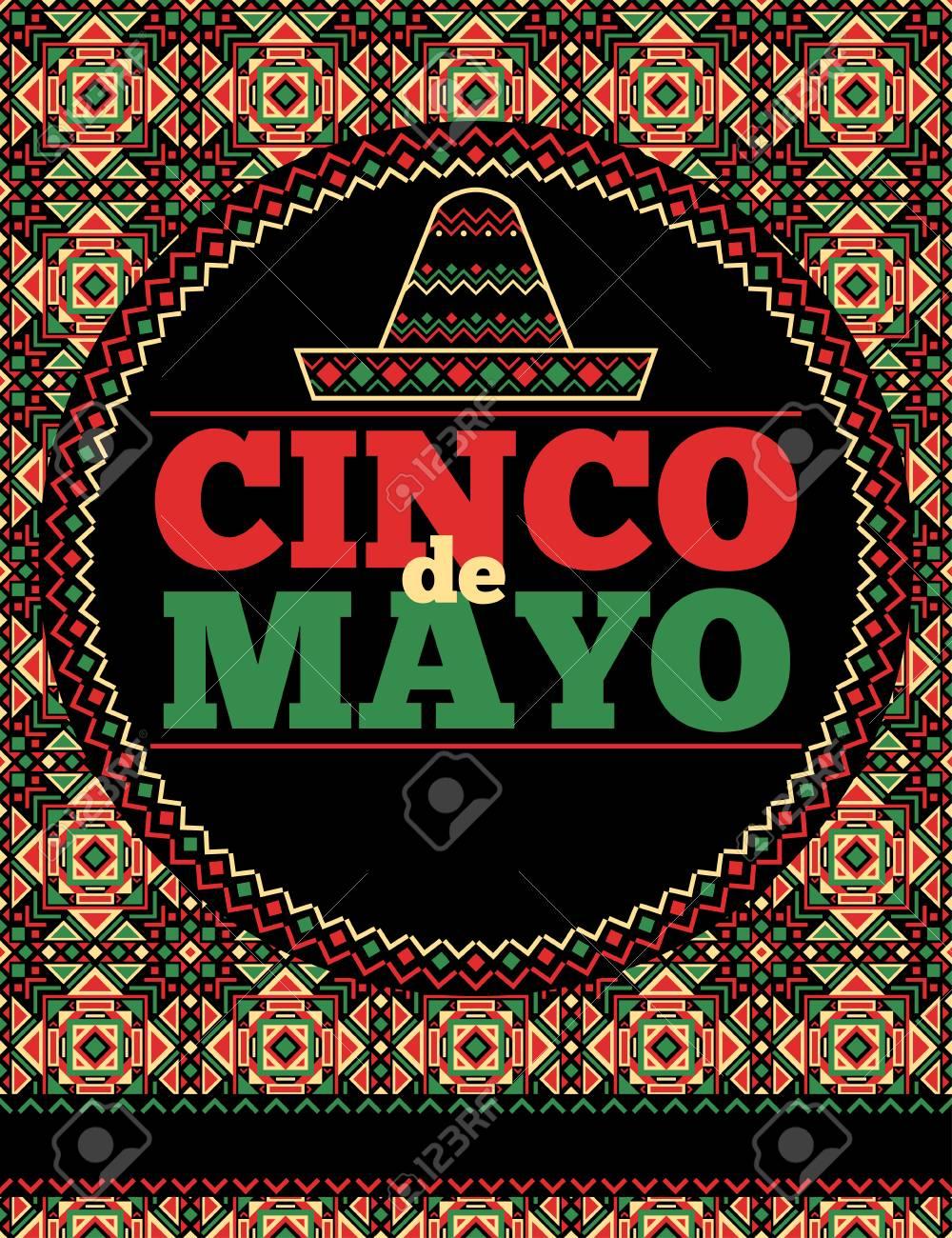 aztec style cinco de mayo flyer template royalty free cliparts