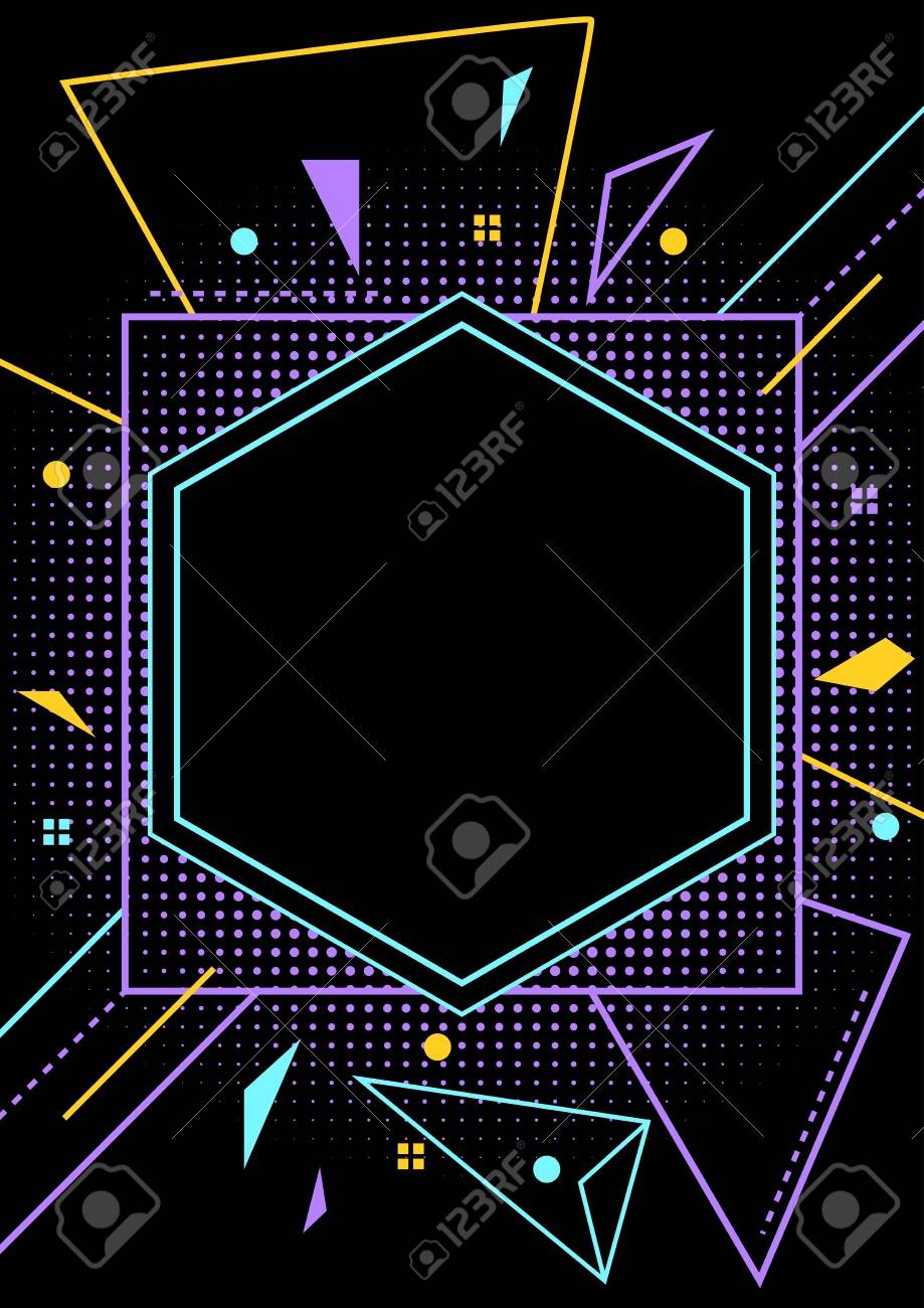 neon style blank party flyer layout template royalty free cliparts