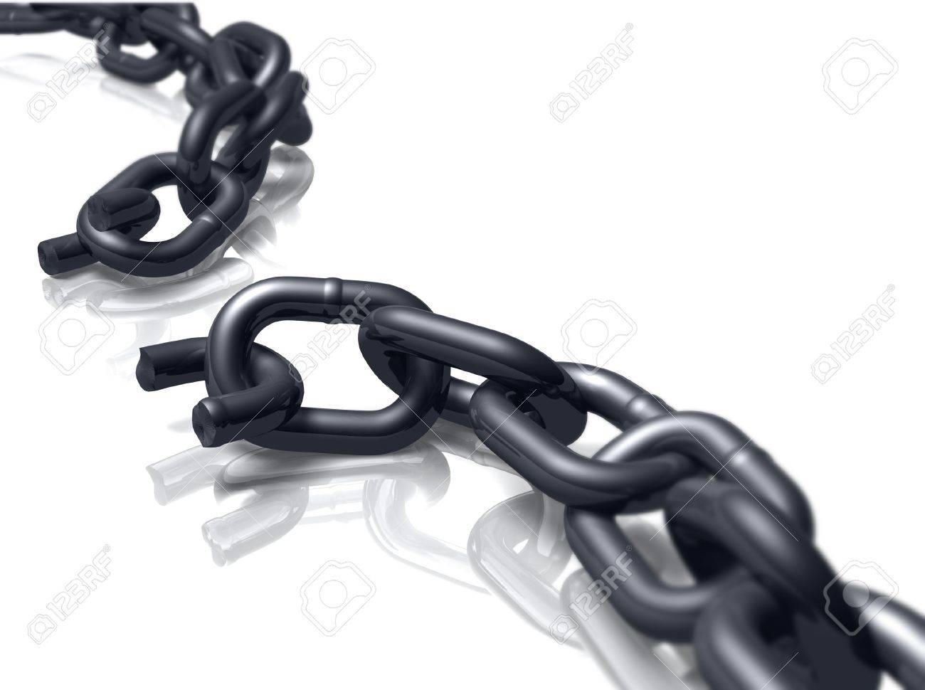 Broken heavy duty chain on white. - 5549215