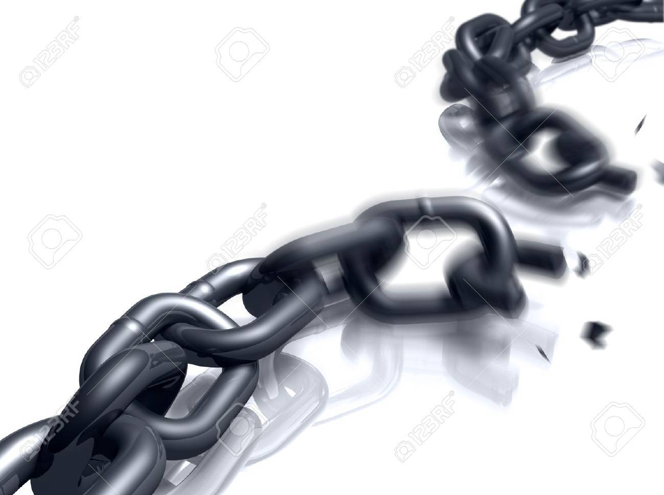 Close-up view of a heavy duty chain in the process of breaking. - 5549217