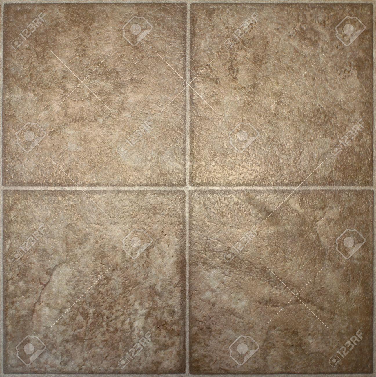 Four Squares Of Brown, Textured Linoleum Floor Tile. Stock Photo ...