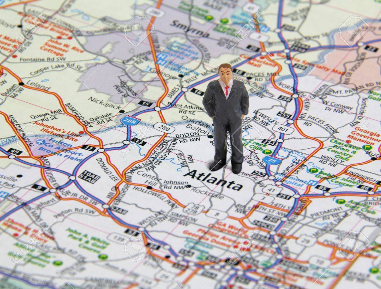 Nw Usa Map.Business Man Figure Standing On A Map Of Atlanta Georgia Usa Stock