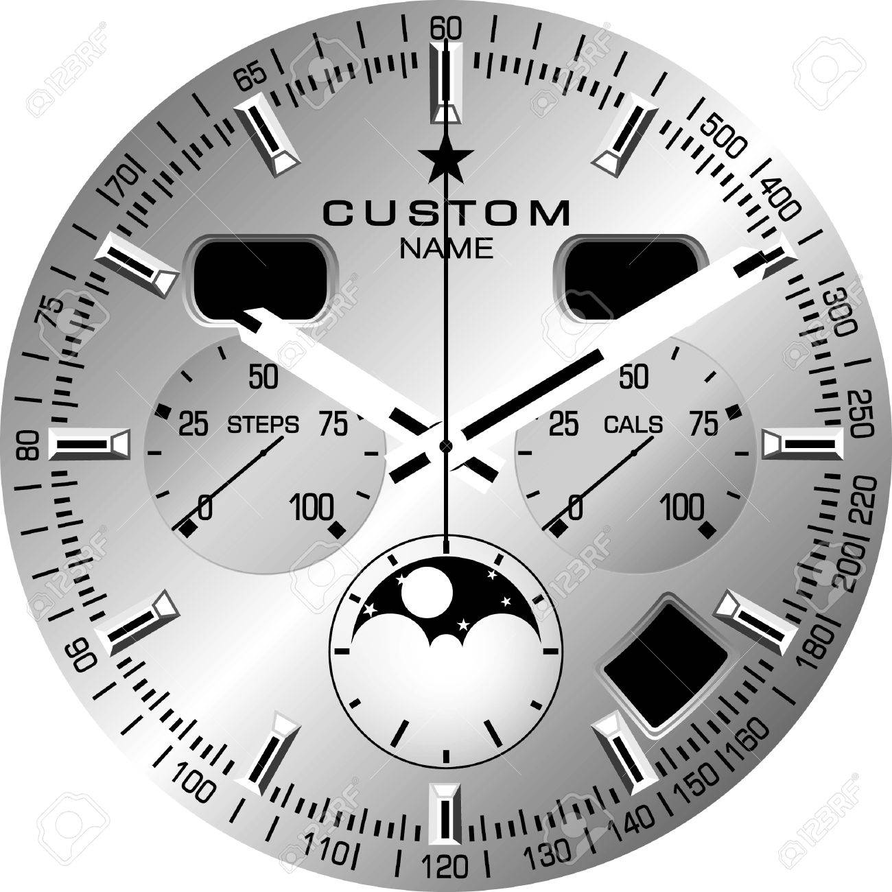 vector template for a customisable smart watch face royalty free