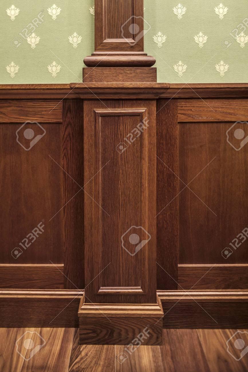 Wall Interior Decoration Classic Oaken Wall Paneling Stock Photo