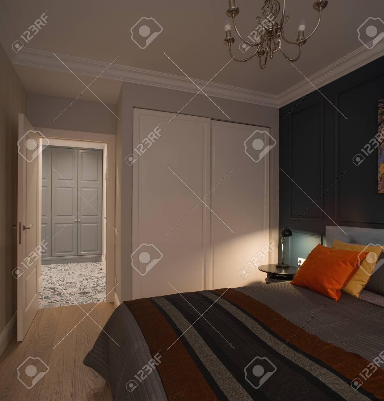 Chambre à coucher moderne simple style de magazine d\'intérieur minimaliste