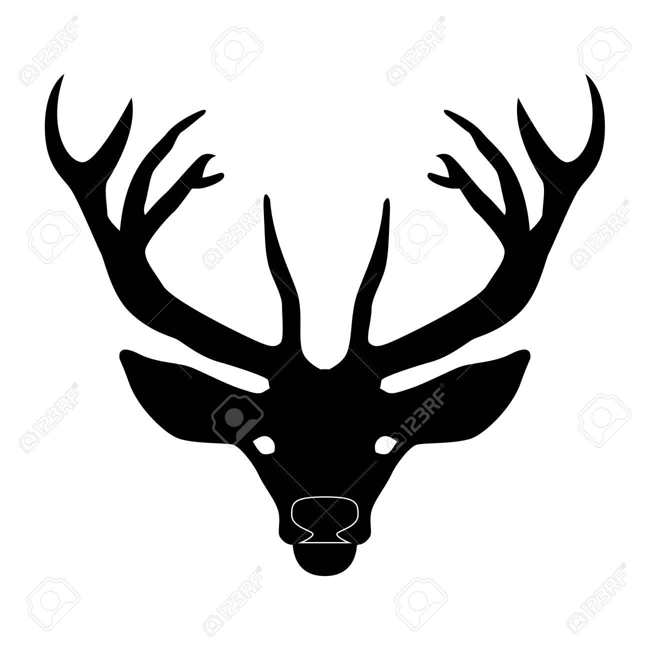 Deer head with horns - 123286132