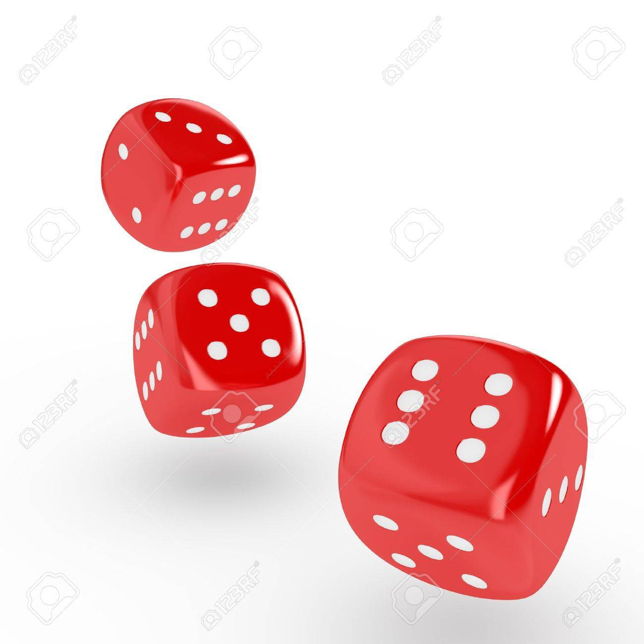 Three red dice on white background  Computer generated image Stock Photo - 14006917
