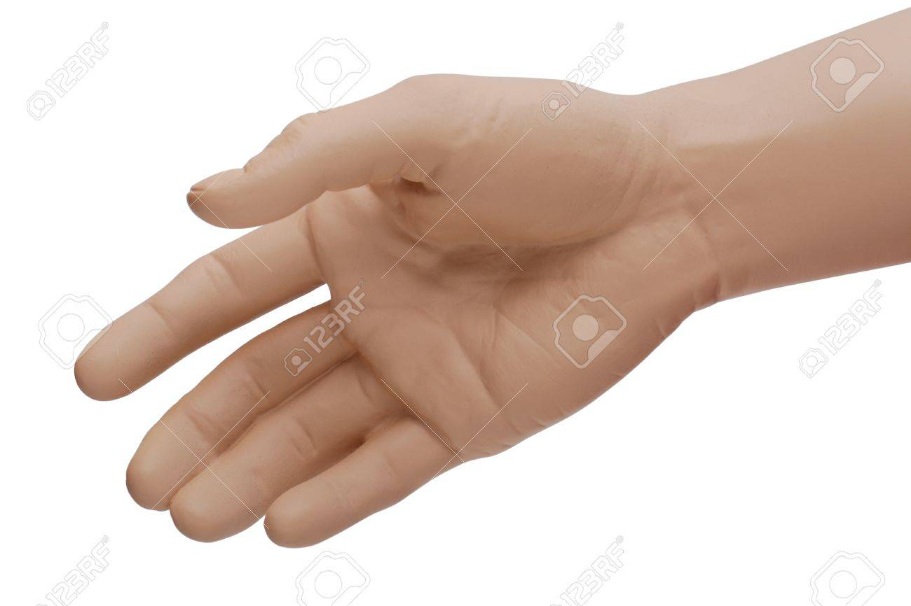 The Right Hand Of A Mannequin Held Out For A Handshake Or To.. Stock ...