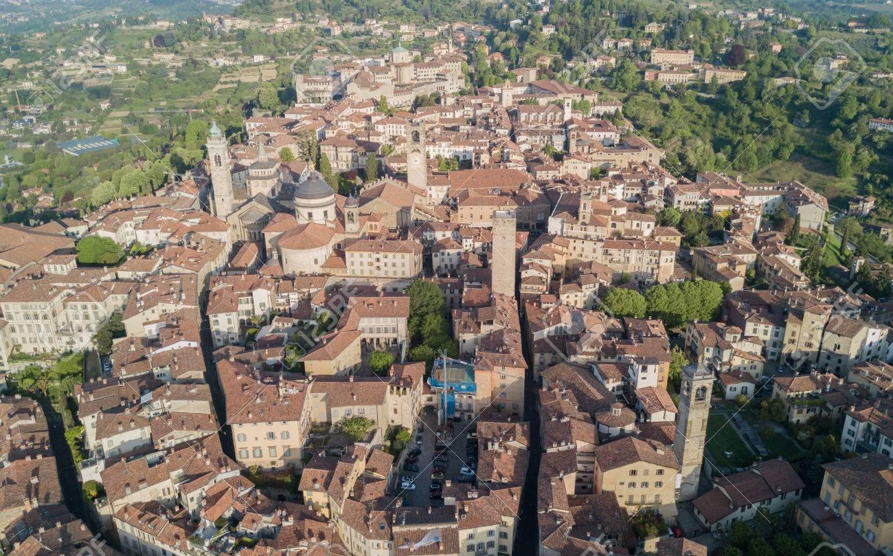 Drone Aerial View Of Bergamo