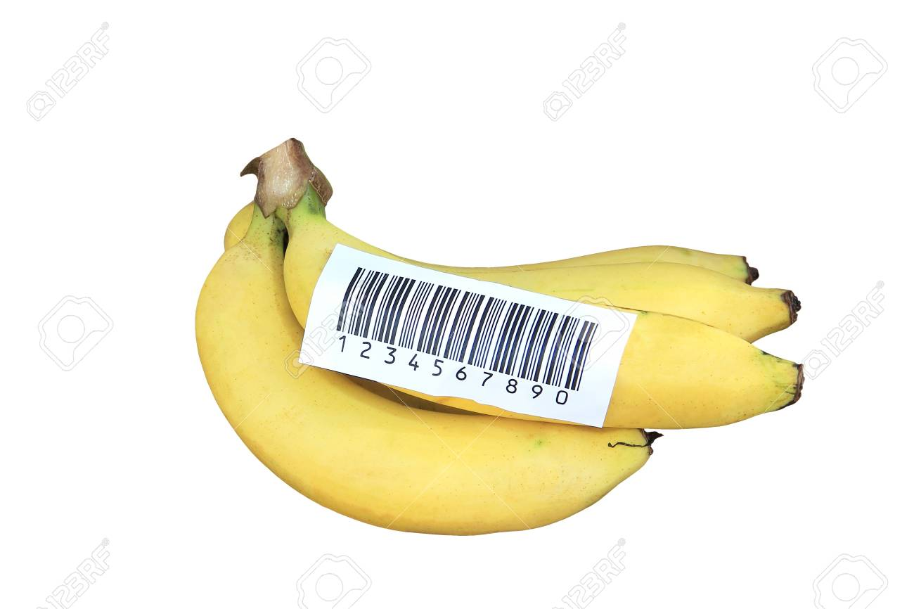 Banana stick with bacode label isolated Stock Photo - 16571284