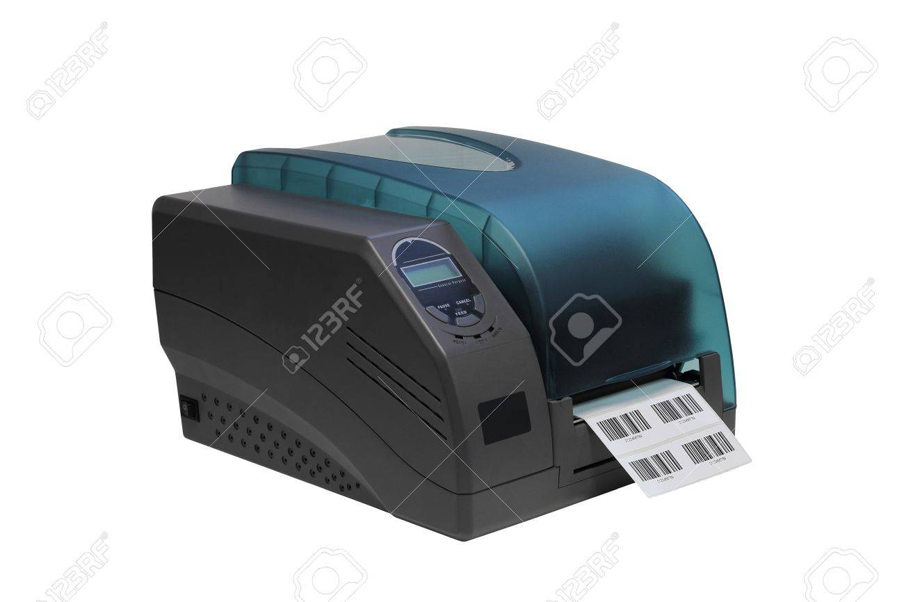 a8ff1965fed7 Barcode label printer isolated over white background