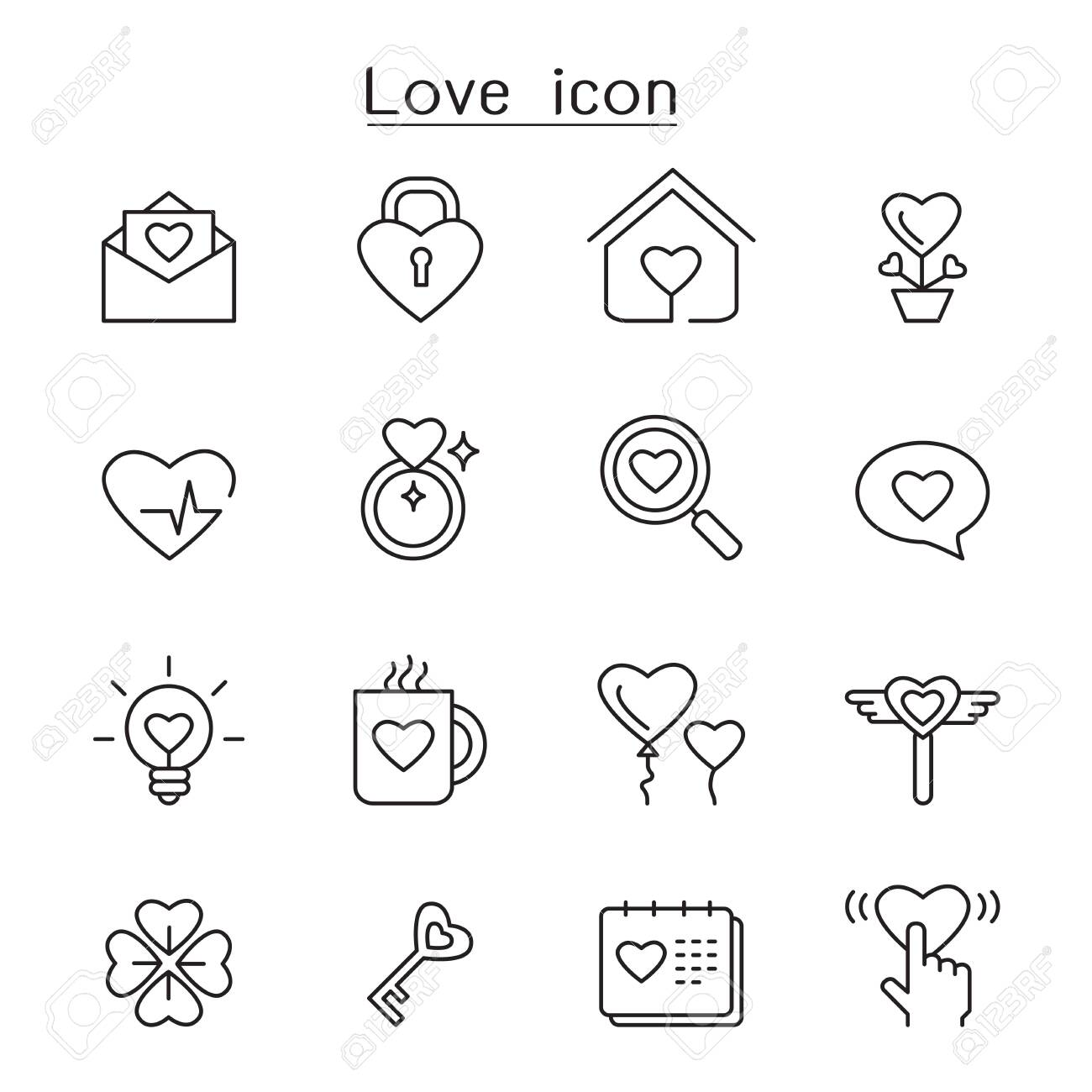 Love icon set in thin line style - 139350764