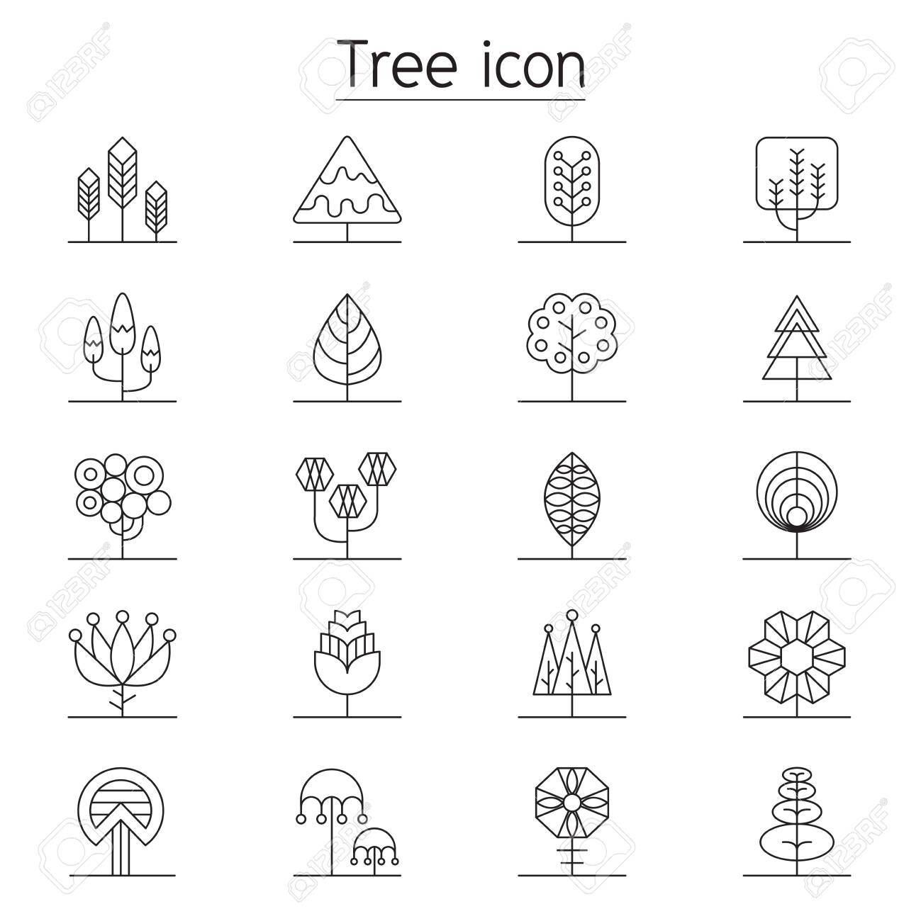 Tree icon set in thin line style - 139351215