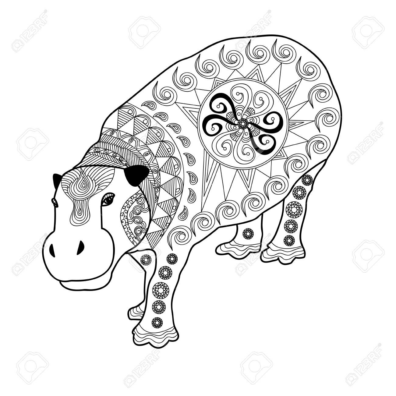 Hipopótamo Con Un Hermoso Patrón. Dibujado A Mano Hipopótamo Tribal ...