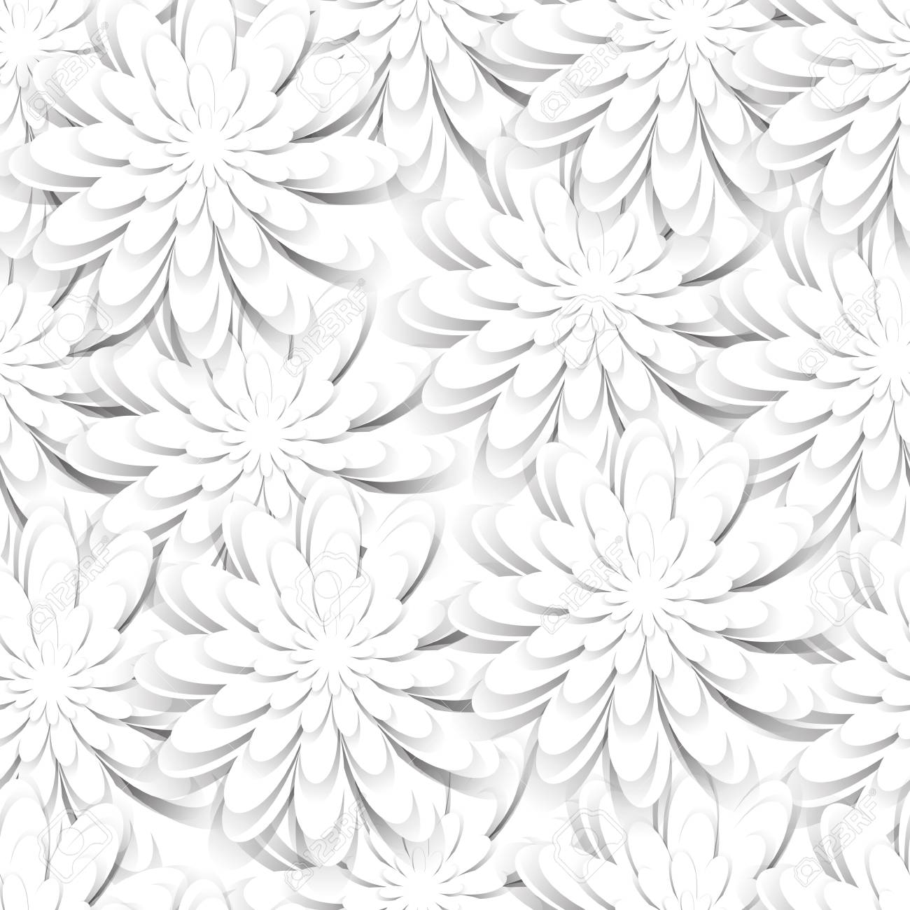 Seamless Pattern With Paper Cut White Flowers Vector Template