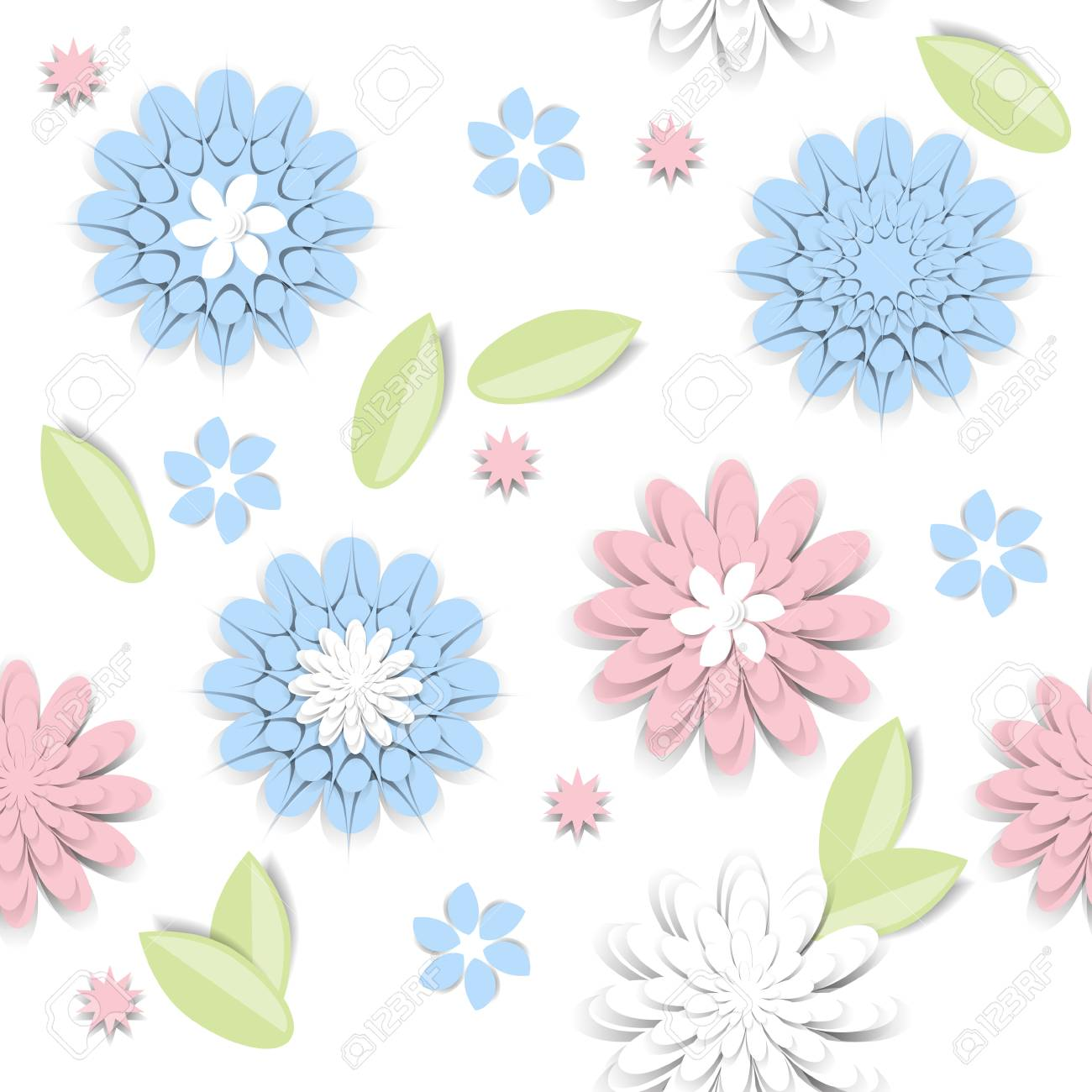Seamless Pattern With Paper Cut Flowers In Pastel Colors Vector