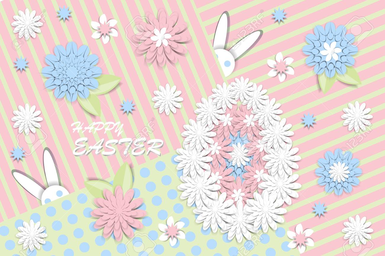 Happy Easter Greeting Card With 3d Paper Flowers And Decorative