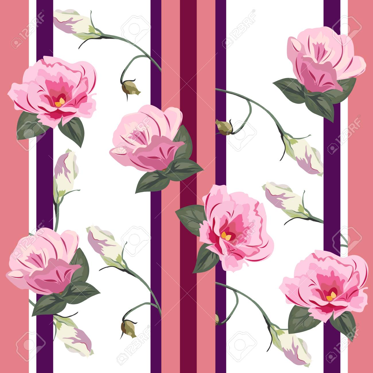 A Seamless Pattern With Cute Pink Flowers Flower Background