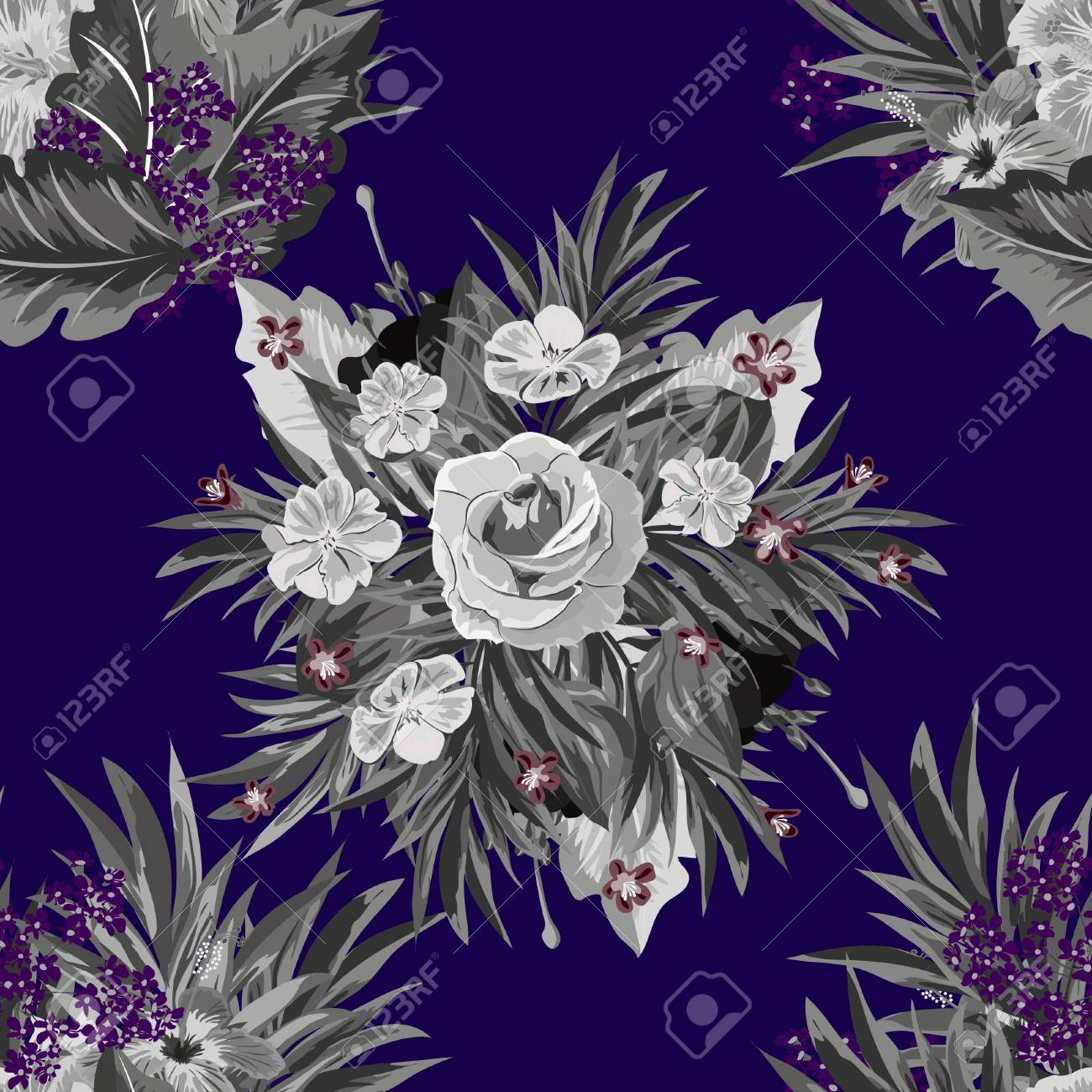 Seamless Monochrome Background With Tropical Flowers Design