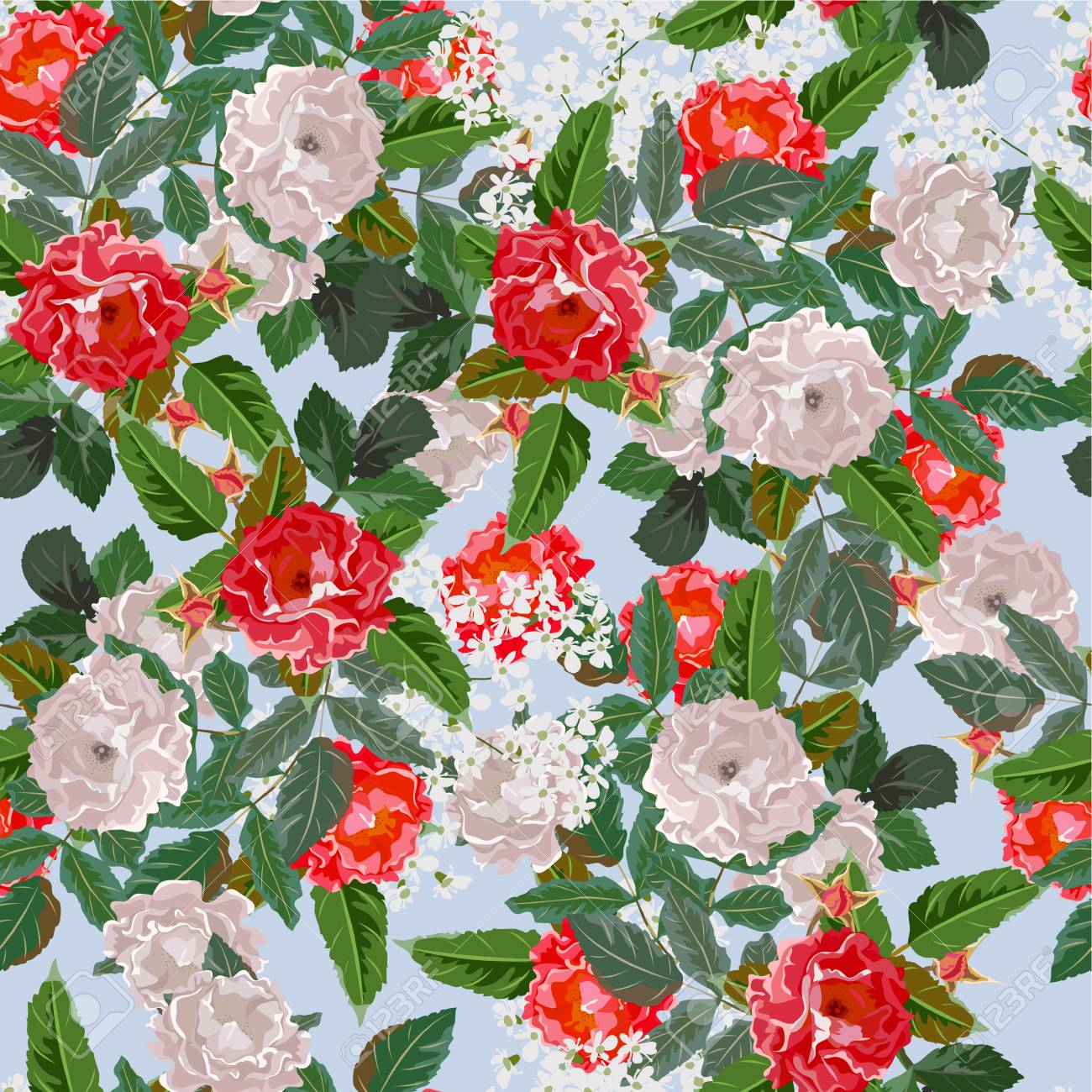 Seamless Background With Red And White Roses Design For Cloth