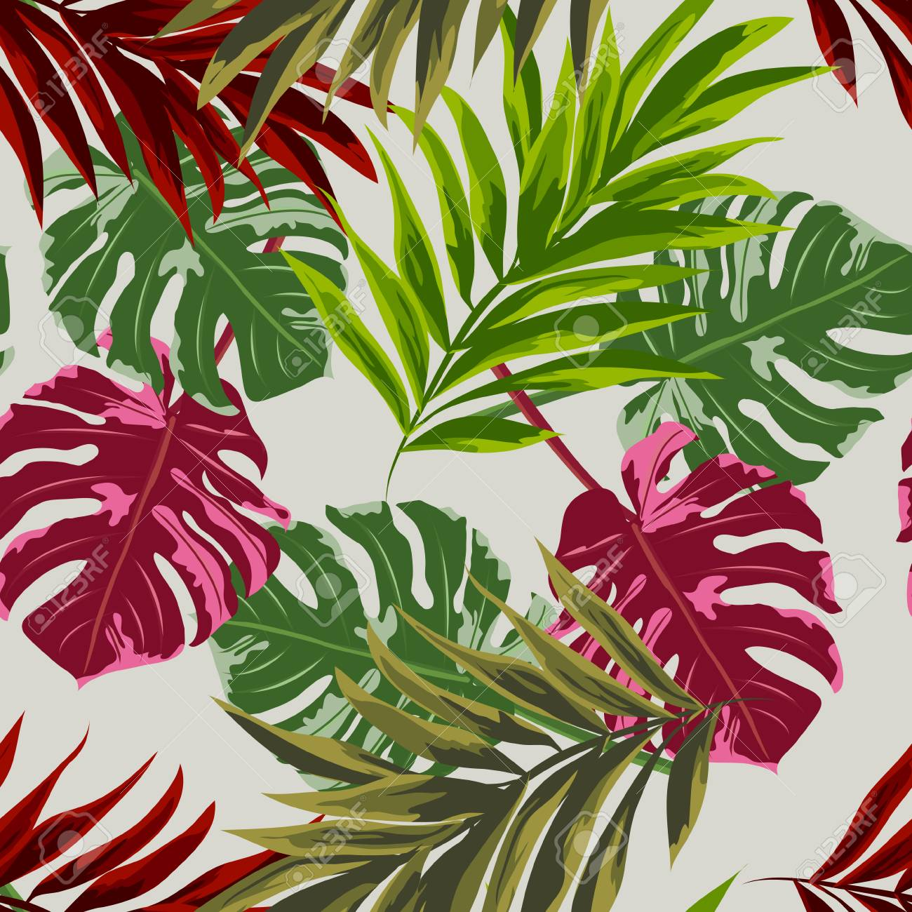 Seamless Background With Tropical Leaves Design For Cloth Wallpaper Royalty Free Cliparts Vectors And Stock Illustration Image 98018725 Certificate design with watercolor painted tropical leaves. 123rf com