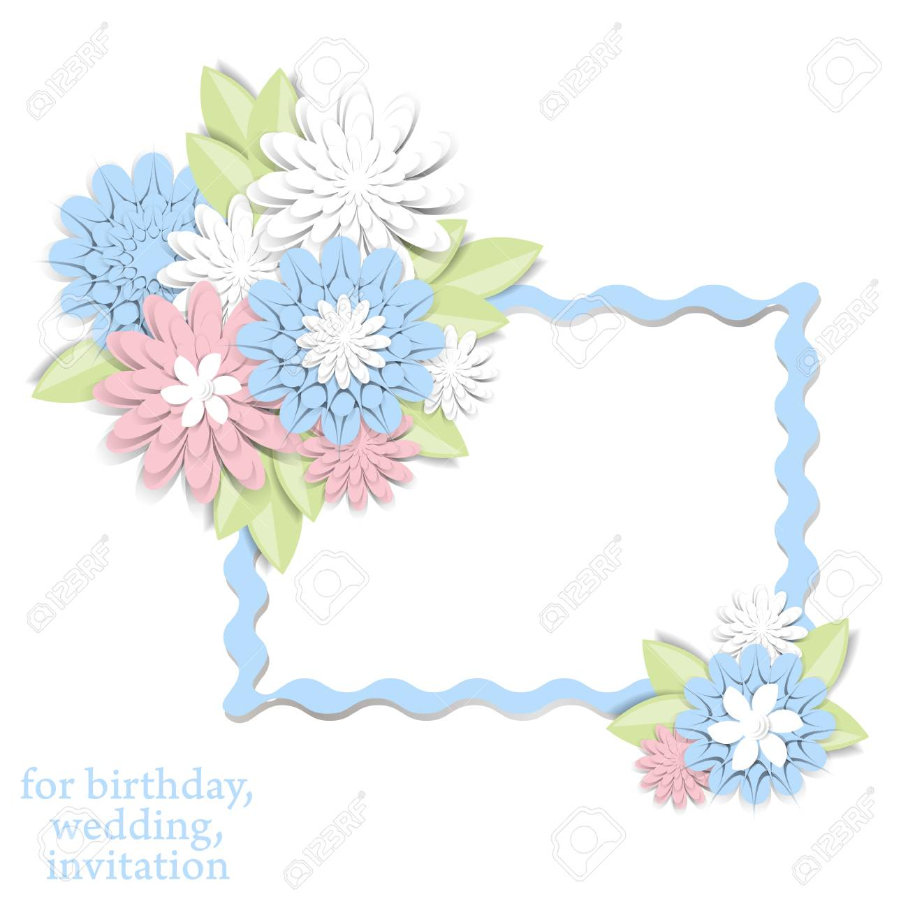 Greeting Card With 3d Paper Flowers And Frame For Text Romantic