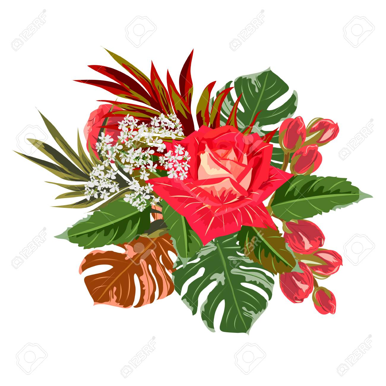 Bouquet Of Red Rose And Tropical Leaves Decor Elements For Greeting Royalty Free Cliparts Vectors And Stock Illustration Image 101742679 Check out our tropical leaf decor selection for the very best in unique or custom, handmade pieces from our shops. bouquet of red rose and tropical leaves decor elements for greeting royalty free cliparts vectors and stock illustration image 101742679