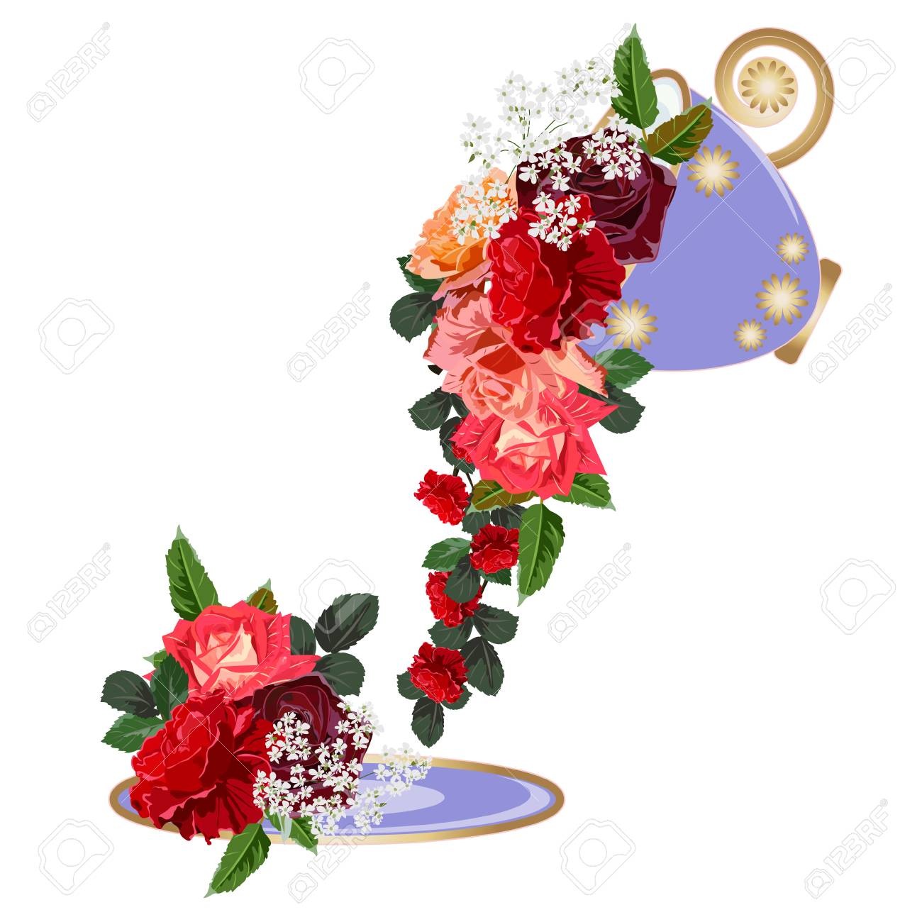 Bouquet Of Red Roses In A Purple Cup. Decor Elements For Greeting ...