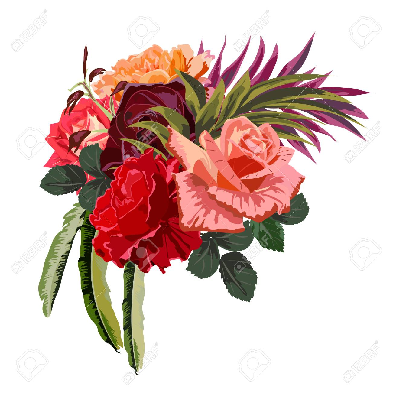 Bouquet Of Beautiful Roses Decor Elements For Greeting Cards Wedding Invitations Birthday And